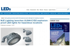 LEDsMagazine:NJZ Lighting launches UL844-C1D2 explosion-proof LED lights for hazardous locations