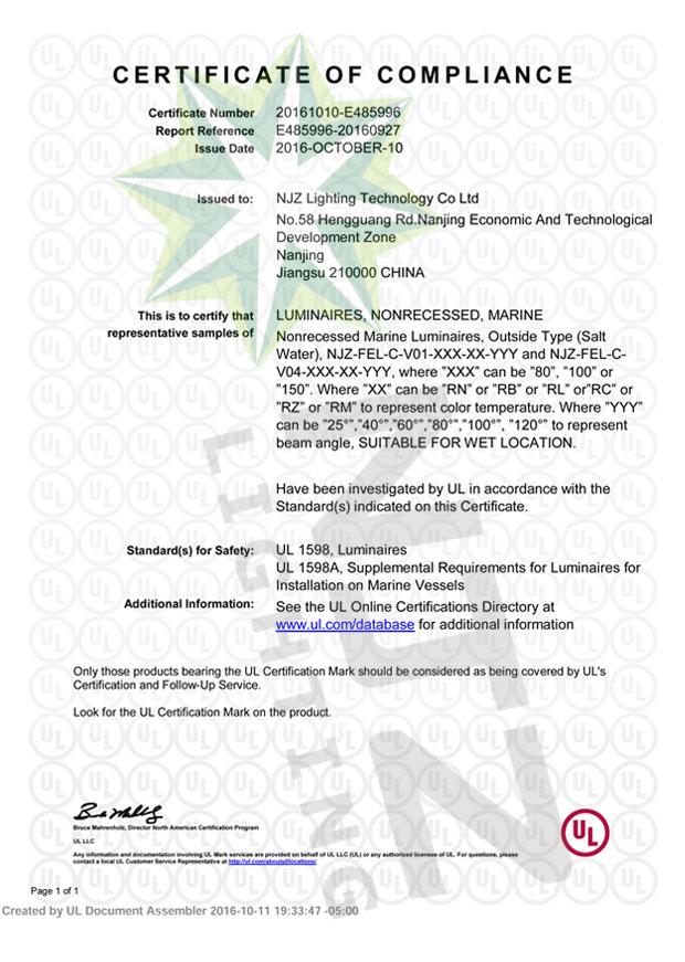 Certificates-NJZ Lighting